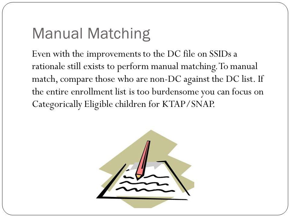 Manual Matching