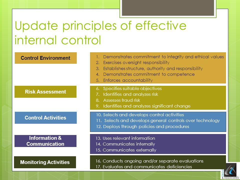 Update principles of effective internal control