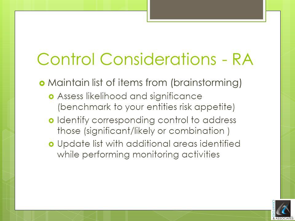Control Considerations - RA