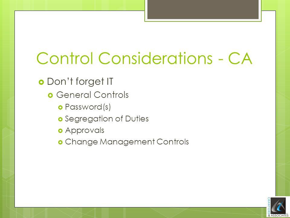 Control Considerations - CA