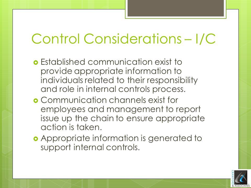 Control Considerations – I/C