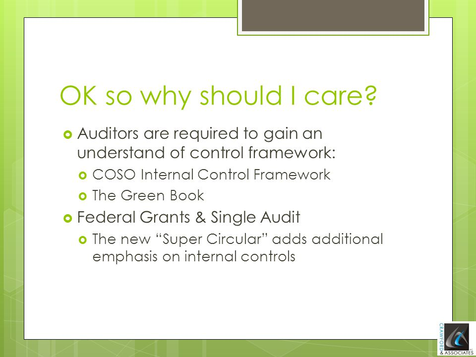 OK so why should I care Auditors are required to gain an understand of control framework: COSO Internal Control Framework.