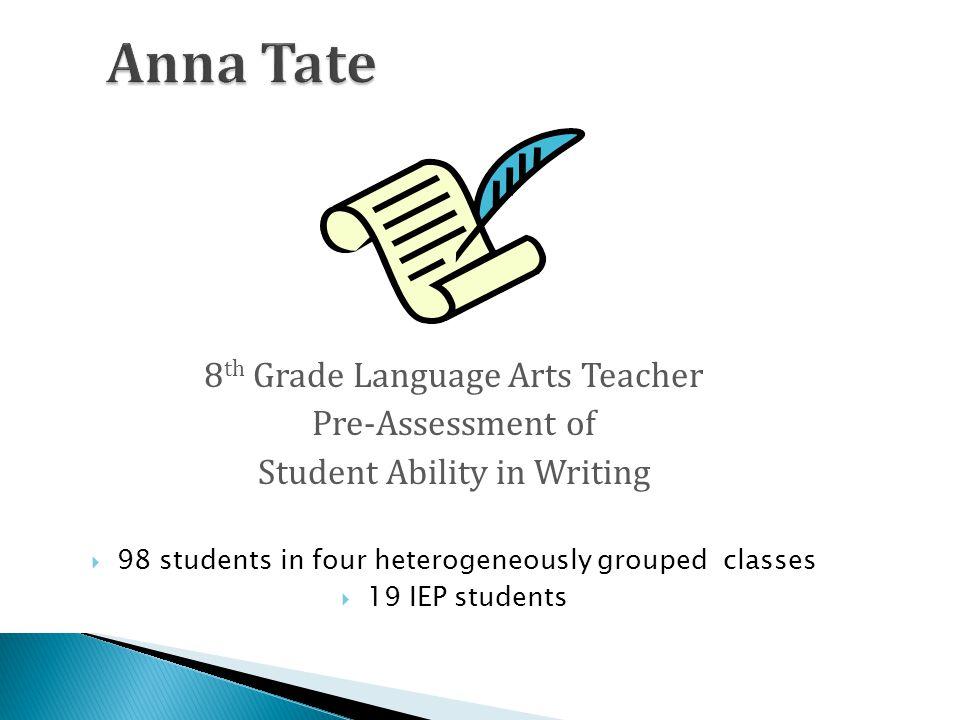 Anna Tate 8th Grade Language Arts Teacher Pre-Assessment of