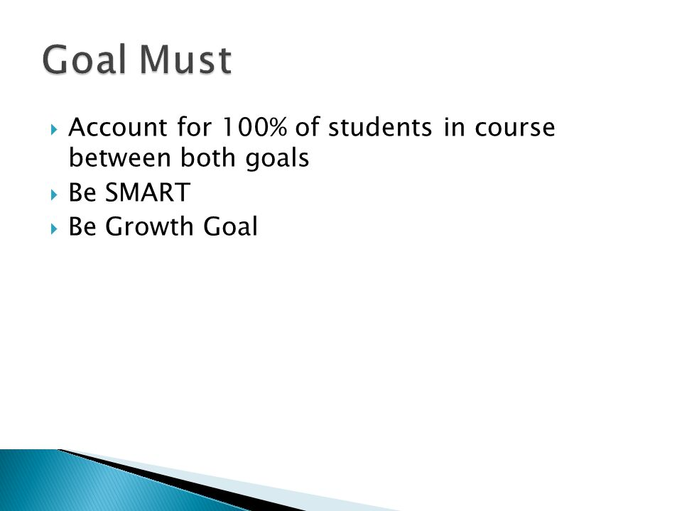 Goal Must Account for 100% of students in course between both goals