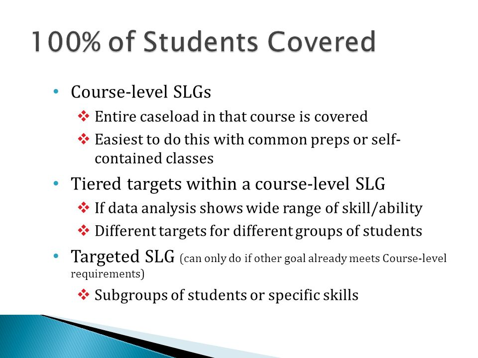 100% of Students Covered Course-level SLGs