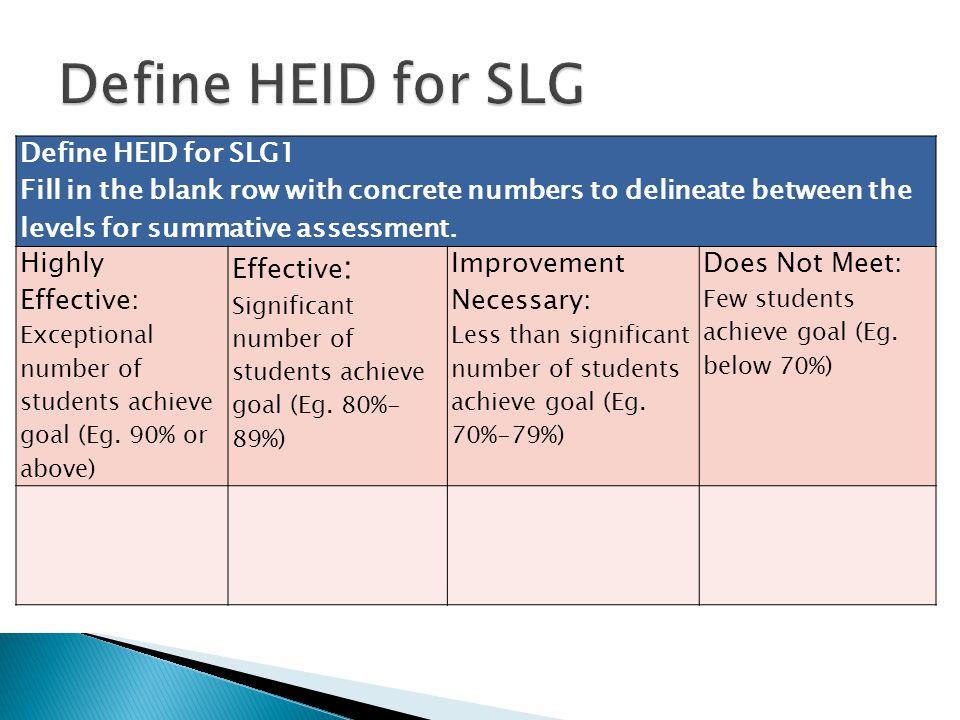 Define HEID for SLG Define HEID for SLG1