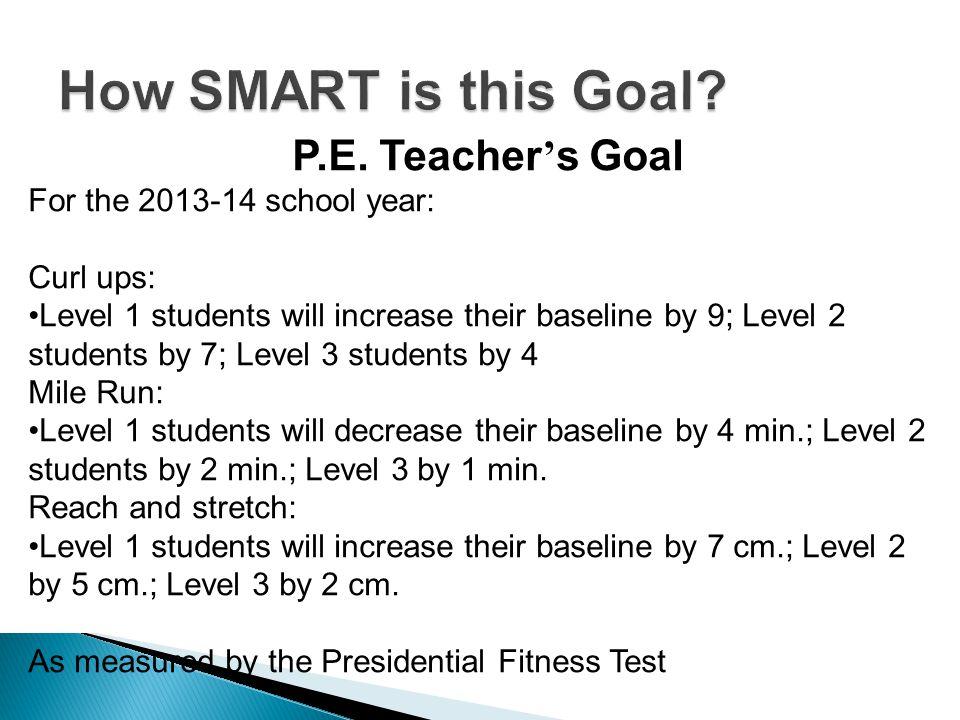 How SMART is this Goal P.E. Teacher's Goal