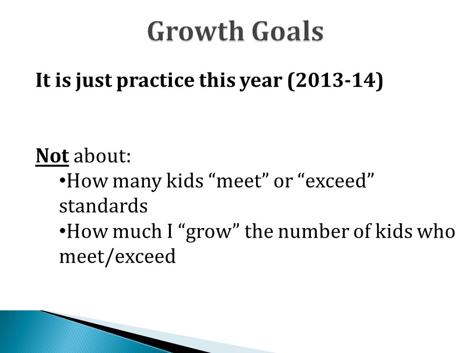 Growth Goals It is just practice this year (2013-14) Not about: