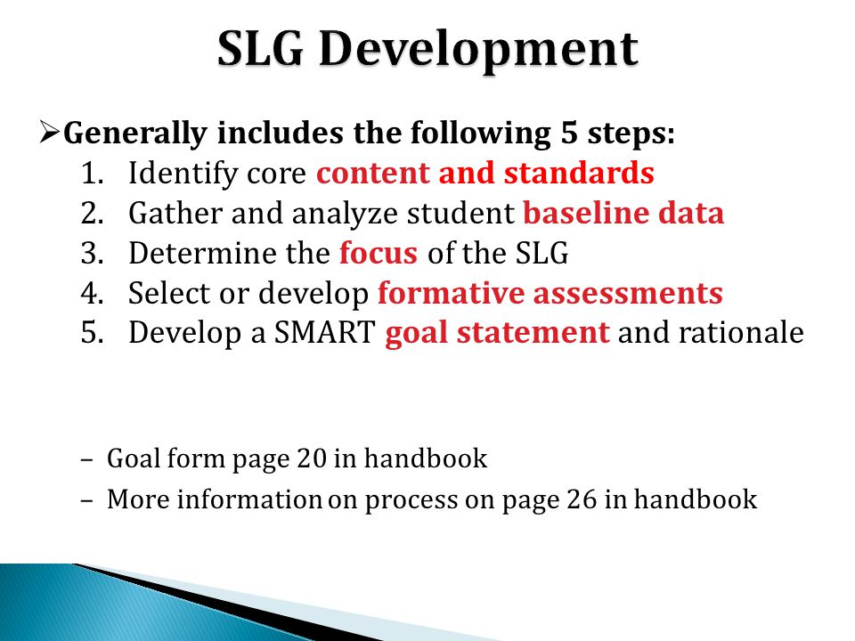 SLG Development Generally includes the following 5 steps: