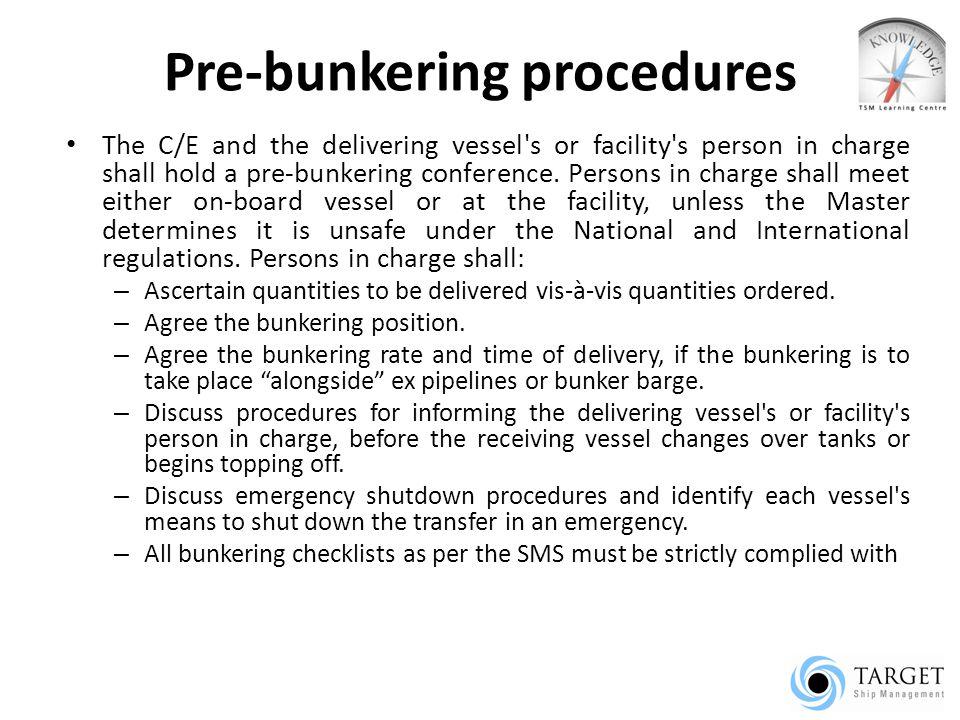 Pre-bunkering procedures