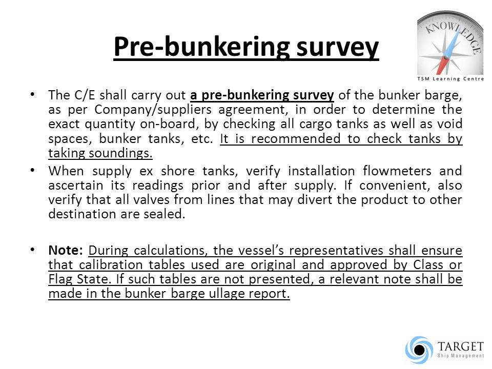 Pre-bunkering survey