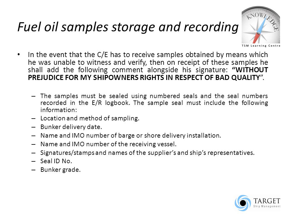Fuel oil samples storage and recording