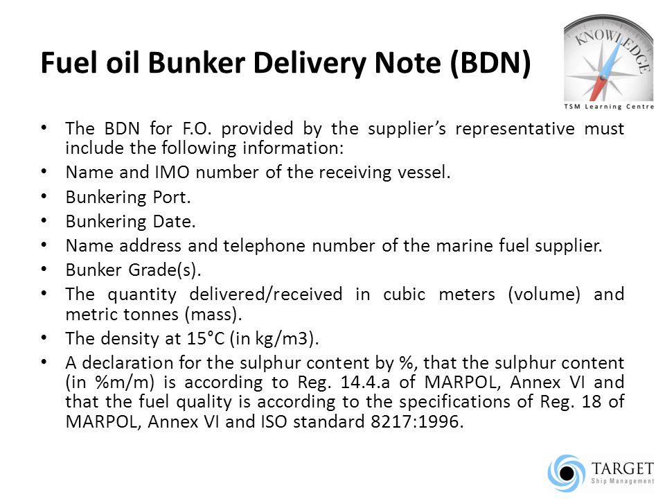 Fuel oil Bunker Delivery Note (BDN)