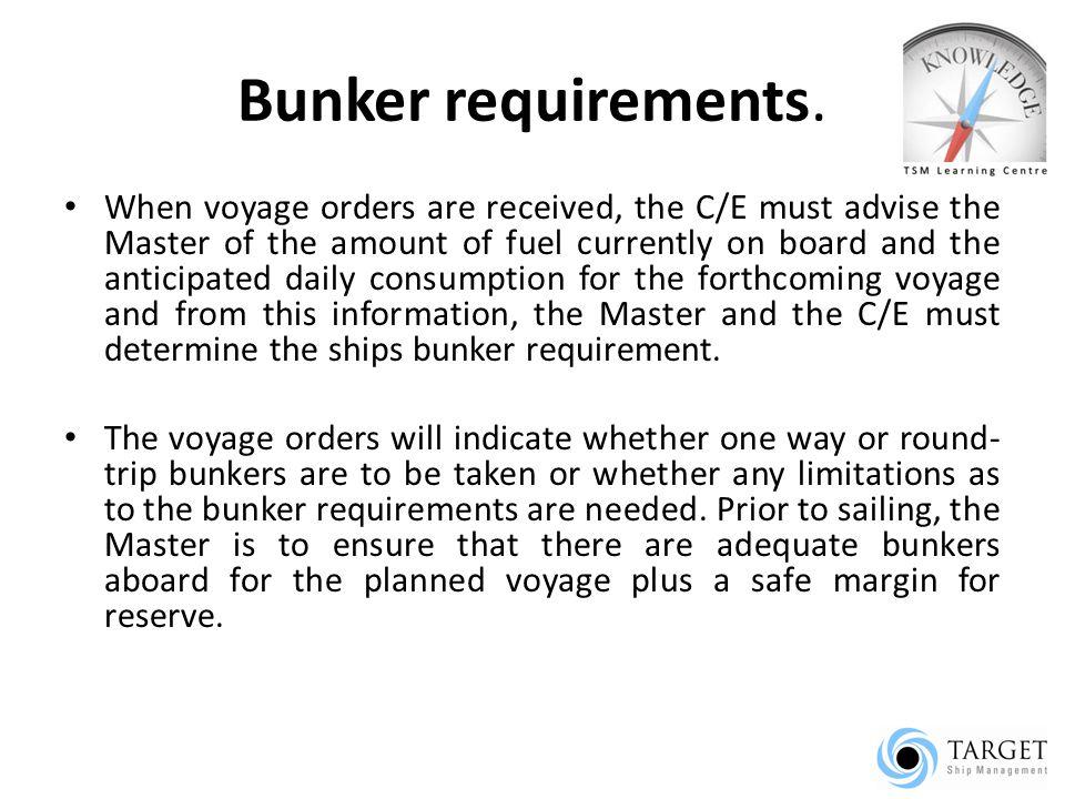 Bunker requirements.
