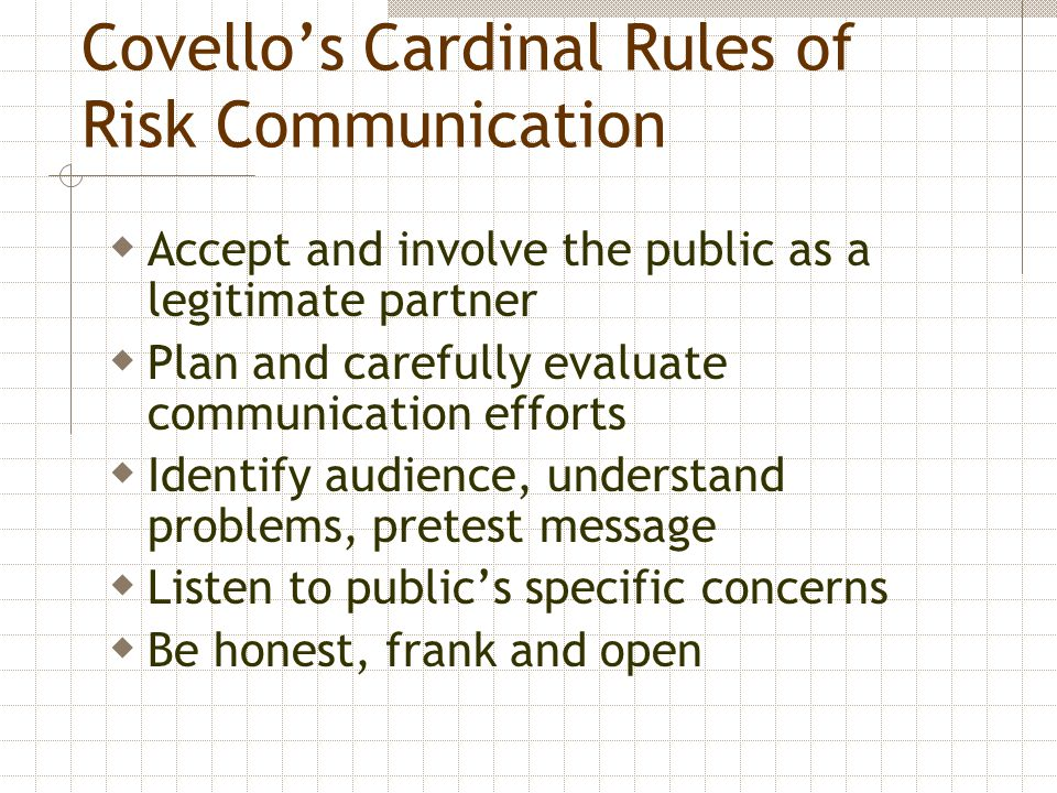 Covello's Cardinal Rules of Risk Communication