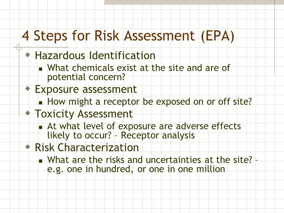 4 Steps for Risk Assessment (EPA)