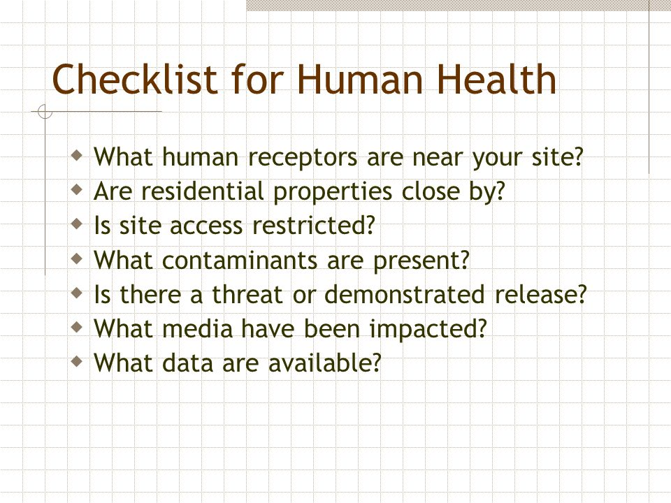 Checklist for Human Health