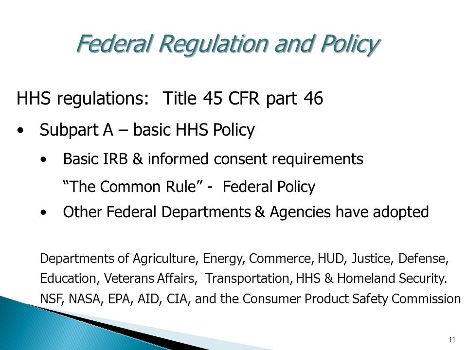 Federal Regulation and Policy