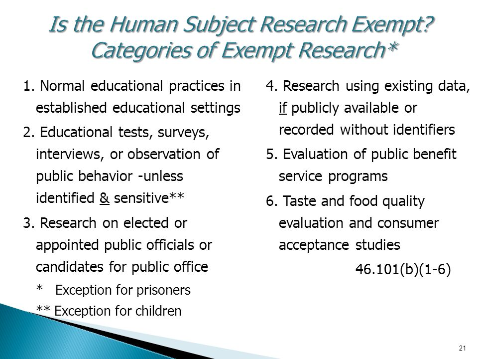 Is the Human Subject Research Exempt Categories of Exempt Research*