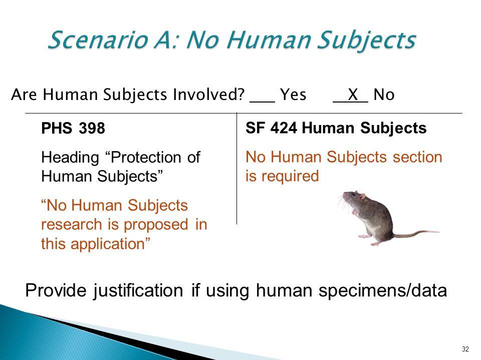 Scenario A: No Human Subjects