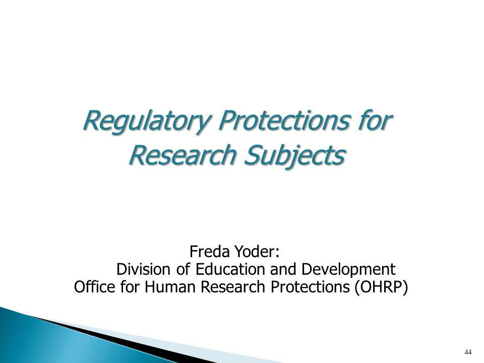 Regulatory Protections for Research Subjects