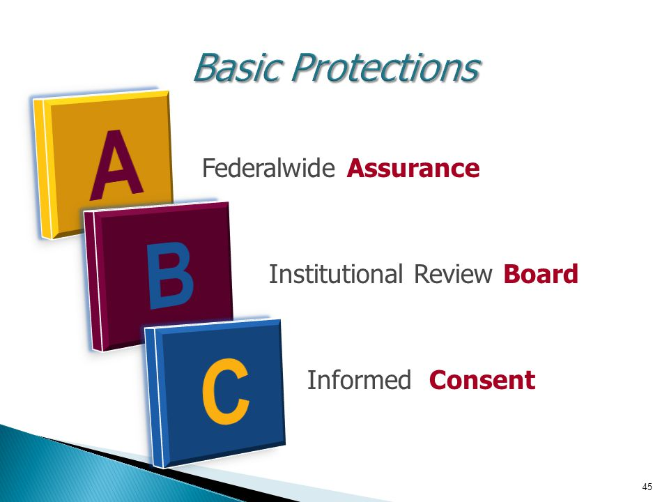 A B C Basic Protections B Federalwide Assurance