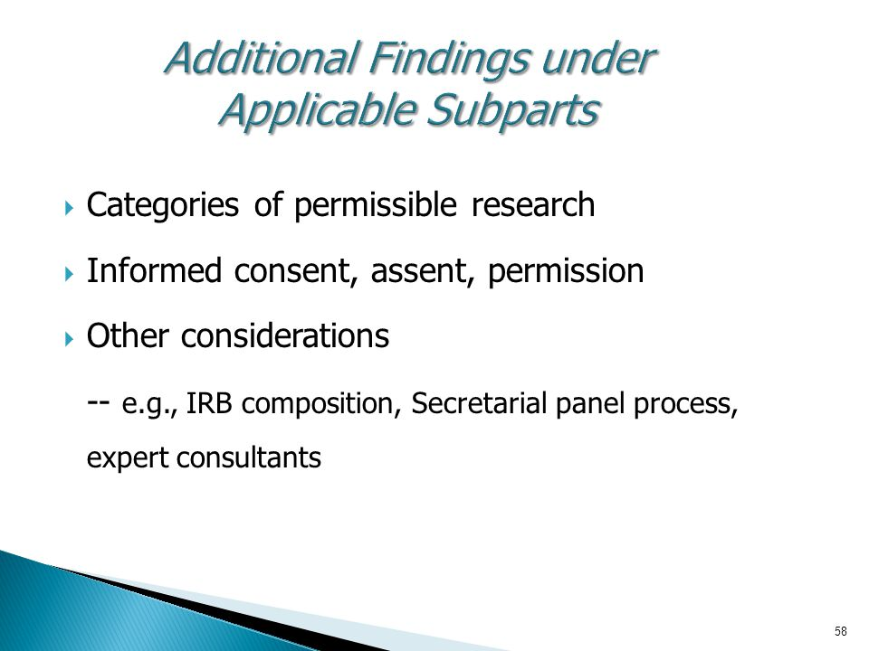 Additional Findings under Applicable Subparts