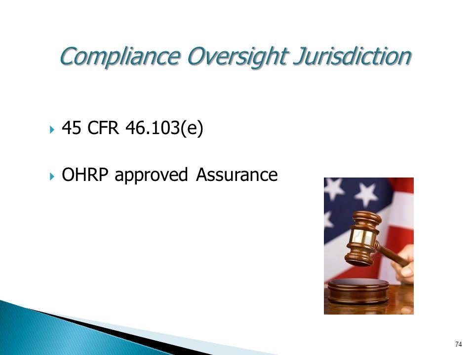 Compliance Oversight Jurisdiction