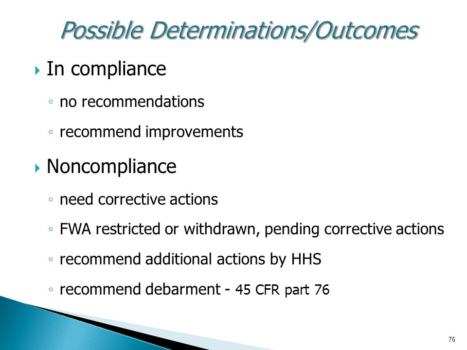Possible Determinations/Outcomes