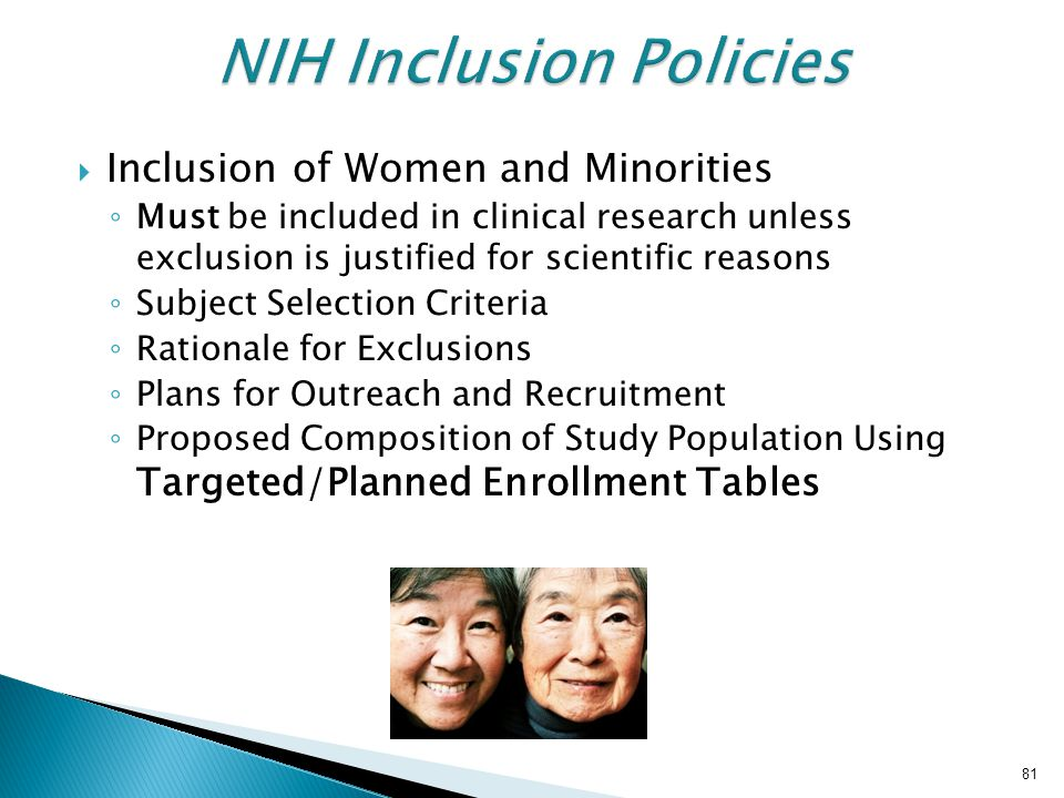 NIH Inclusion Policies