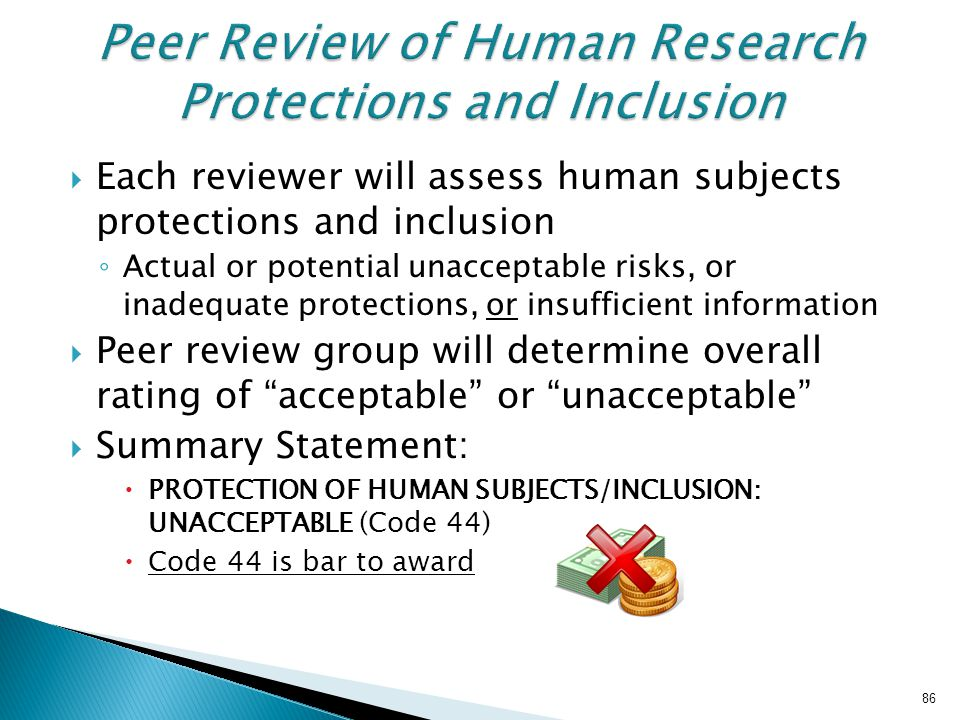 Peer Review of Human Research Protections and Inclusion