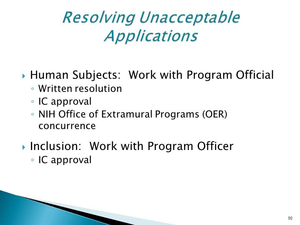 Resolving Unacceptable Applications