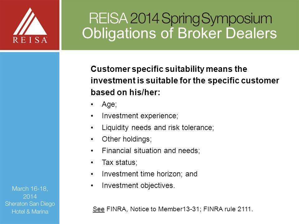 Obligations of Broker Dealers