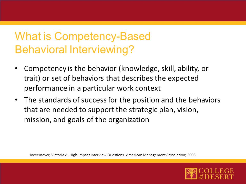 What is Competency-Based Behavioral Interviewing