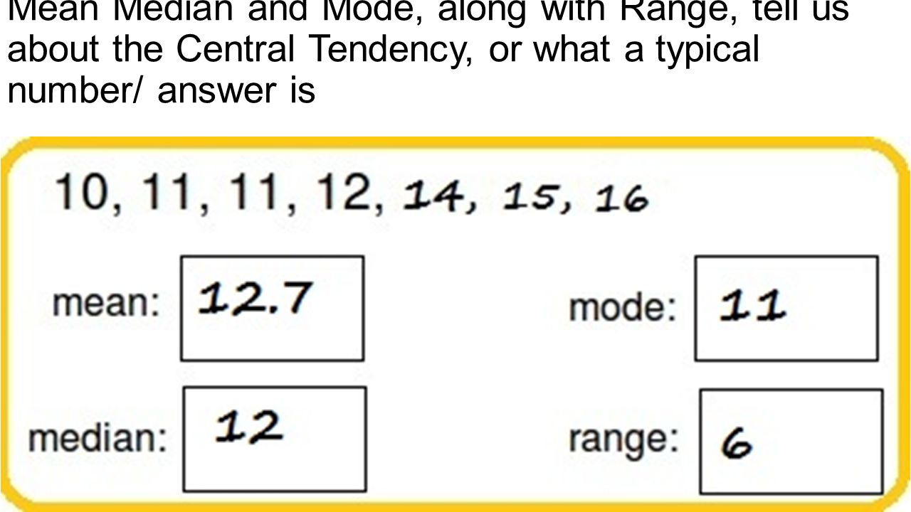 Mean Median and Mode, along with Range, tell us about the Central Tendency, or what a typical number/ answer is