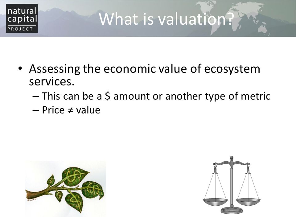 What is valuation Assessing the economic value of ecosystem services.
