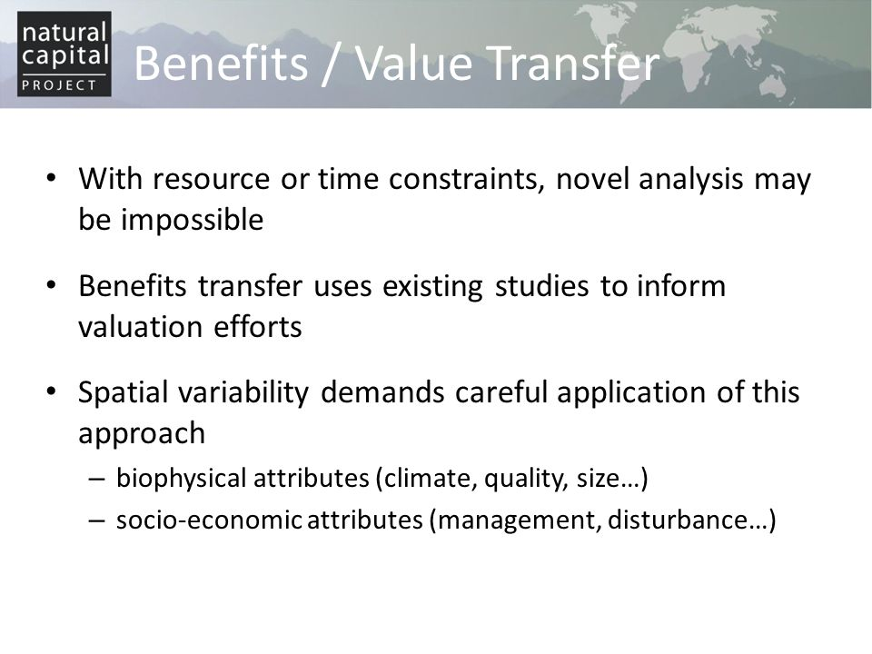 Benefits / Value Transfer