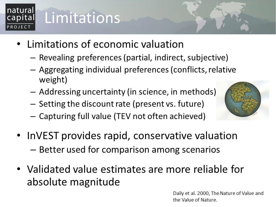 Limitations Limitations of economic valuation