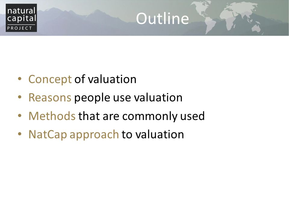 Outline Concept of valuation Reasons people use valuation