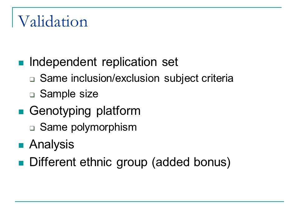 Validation Independent replication set Genotyping platform Analysis
