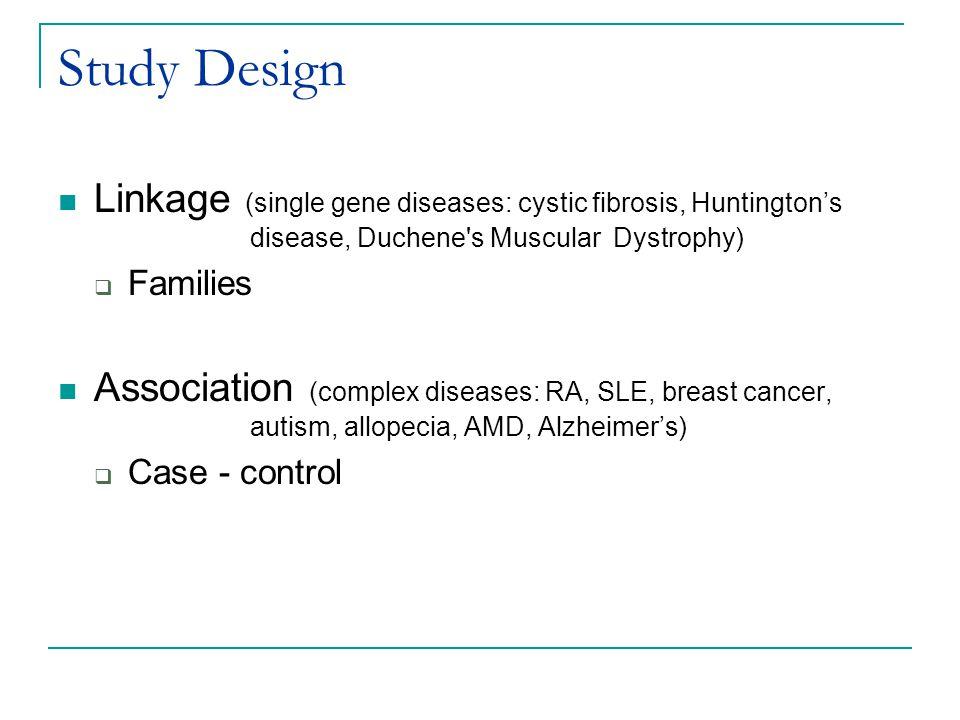 Study Design Linkage (single gene diseases: cystic fibrosis, Huntington's disease, Duchene s Muscular Dystrophy)