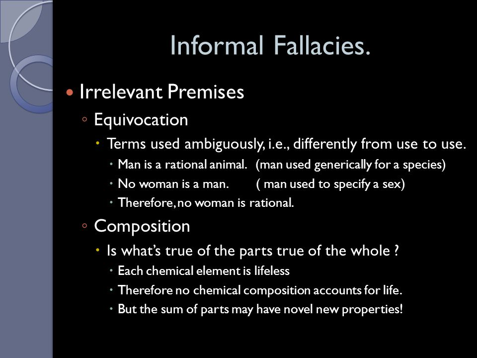 Informal Fallacies. Irrelevant Premises Equivocation Composition