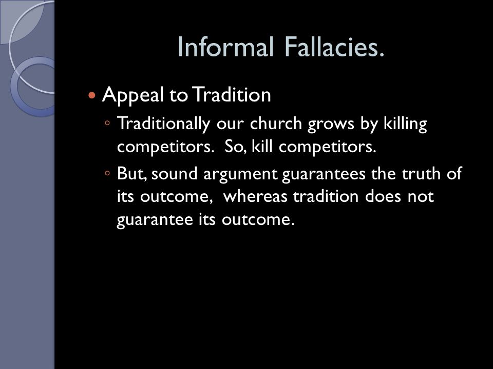 Informal Fallacies. Appeal to Tradition