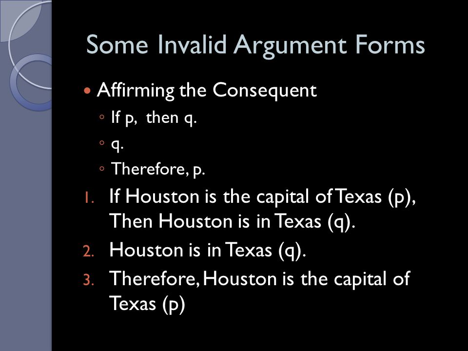 Some Invalid Argument Forms