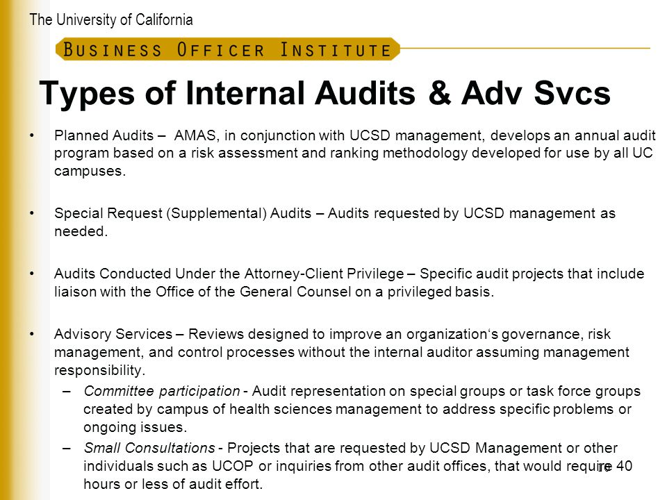 Types of Internal Audits & Adv Svcs