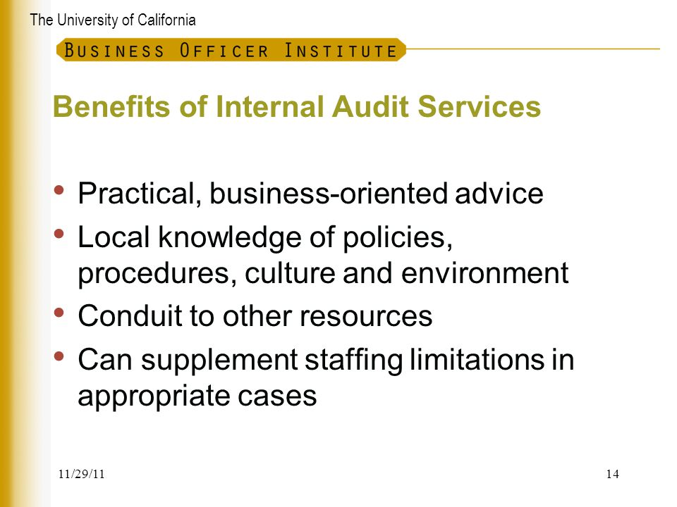 Benefits of Internal Audit Services