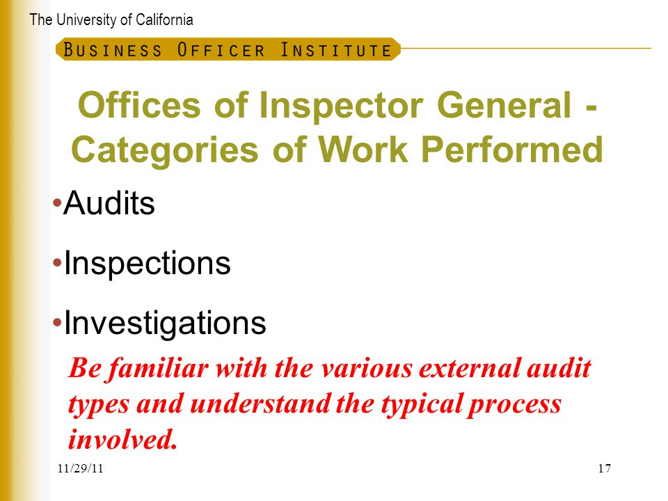 Offices of Inspector General -Categories of Work Performed