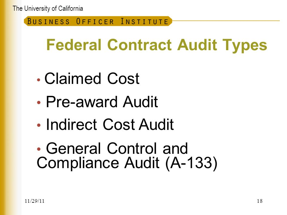 Federal Contract Audit Types
