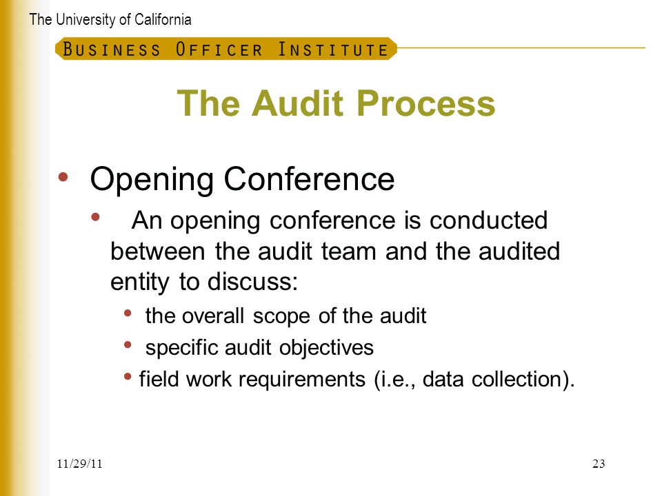The Audit Process Opening Conference