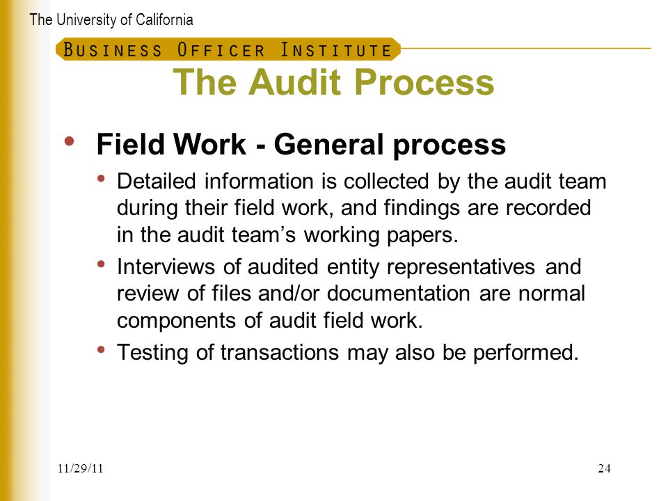 The Audit Process Field Work - General process